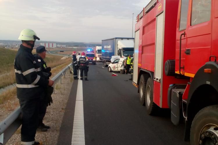 Accident pe A10. Intervin pompierii din Cluj