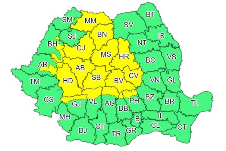 Cod galben de furtuni urmat de caniculă în mai multe județe din țară. Clujul este afectat