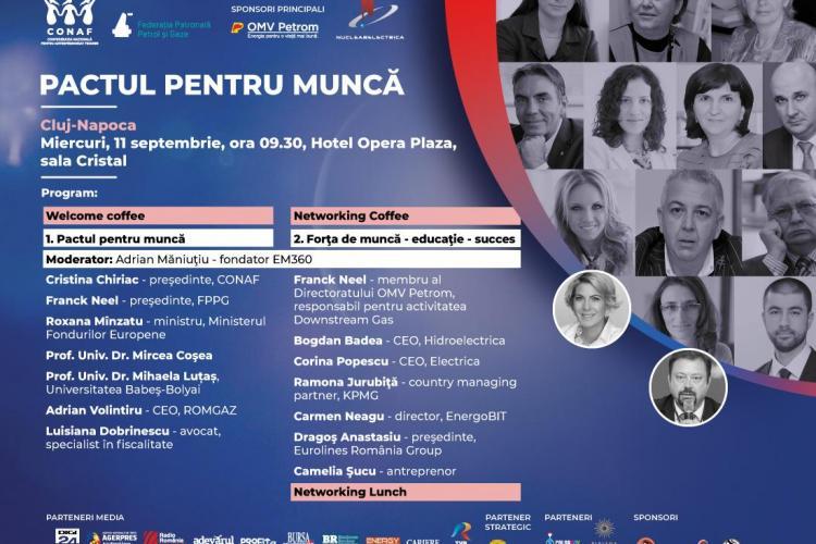 Conferinţa gratuită PACTUL PENTRU MUNCĂ are loc la Cluj-Napoca. Miniștri și antreprenori caută soluții pentru diminuarea deficitului de forță de muncă