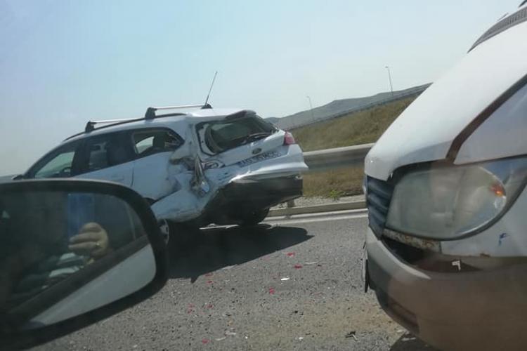 Accident la urcare pe autostradă la Turda - FOTO