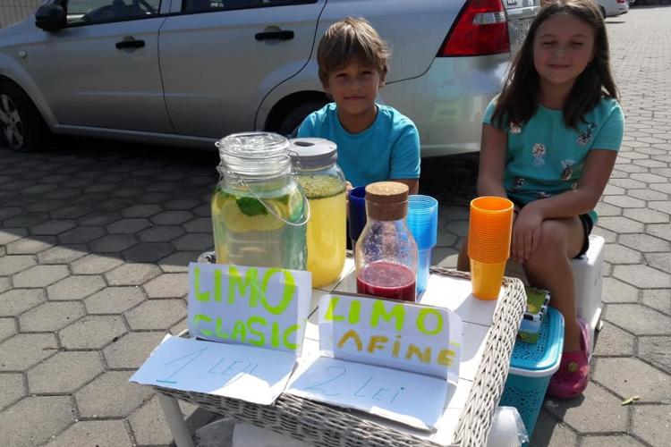 Doi copii din Cluj-Napoca vând limonadă în Borhanci. Au propria afacere - FOTO
