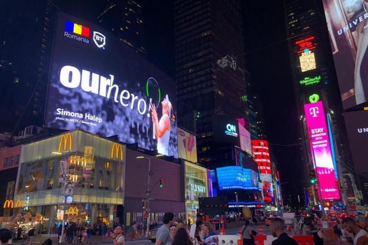 Simona Halep, vedetă în Times Square din New York. Și-a făcut poze cu reclama uriașă