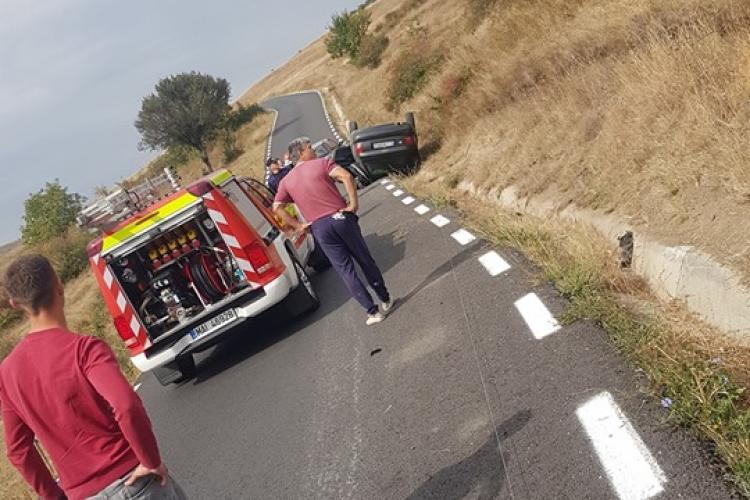Mașină răsturnată pe centura Florești - FOTO
