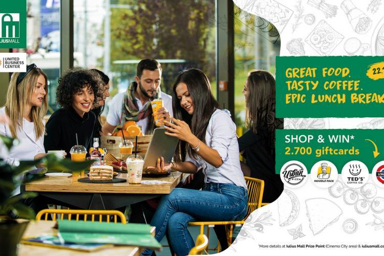 """Iulius Mall Cluj lansează campania """"Great Food. Tasty coffee!"""", cu peste 2.700 de premii instant"""