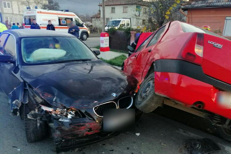 Accident cu un BMW la Urișor, la ieșire din Dej - FOTO