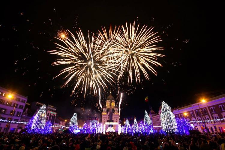 Imagini spectaculoase cu focul de artificii de la Cluj, de Ziua Națională - VIDEO