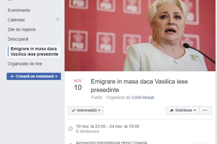 Eveniment VIRAL pe Facebook: Emigrare în masă dacă Vasilica iese președinte