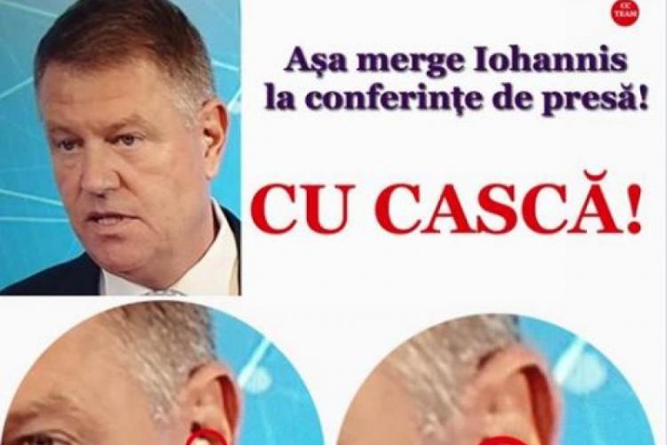 PSD a distribuit un fake news despre casca din urechea lui Klaus Iohannis, prin care i se șoptea - FOTO și VIDEO