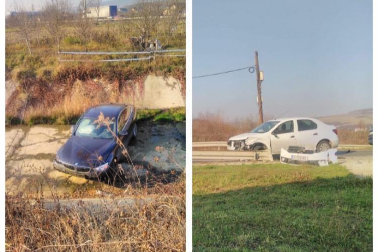 BMW făcut praf pe un drum din Cluj. A zburat într-o vale - FOTO
