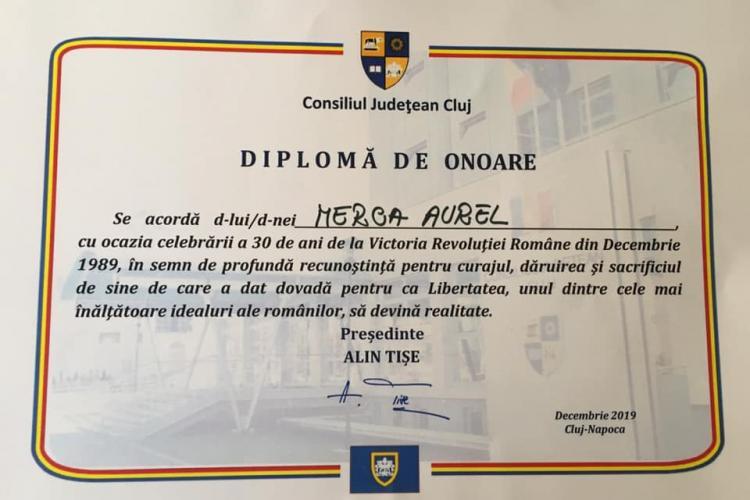Umilință pentru copiii martirilor! Consiliul Județean Cluj a UITAT să realizeze diplome pentru morții Revoluției de la Cluj