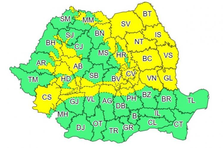 Cod GALBEN de ninsori în mai multe județe din țară, printre care și Clujul