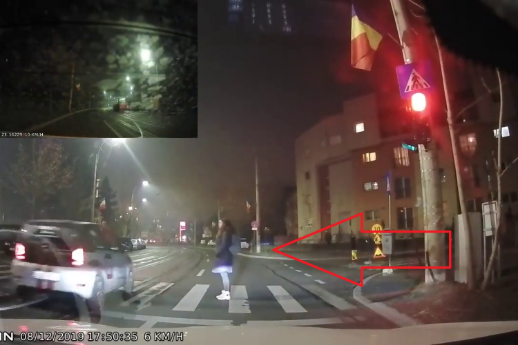 Șofer de la Marty, la un pas de a spulbera o tânără pe trecerea de pietoni - VIDEO