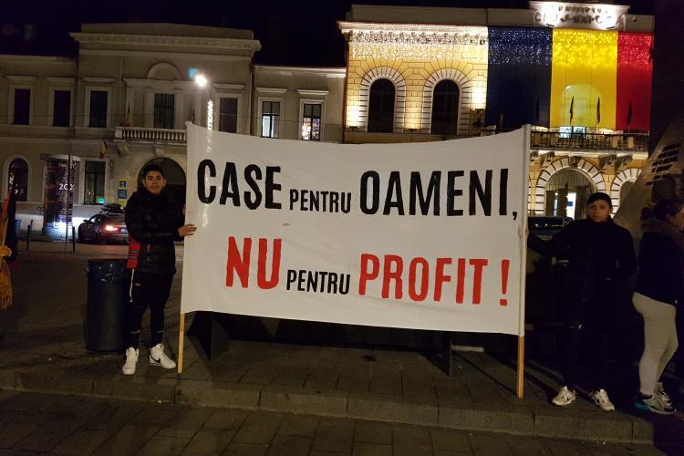 Protest împotriva chiriilor nesimțite de la Cluj - VIDEO