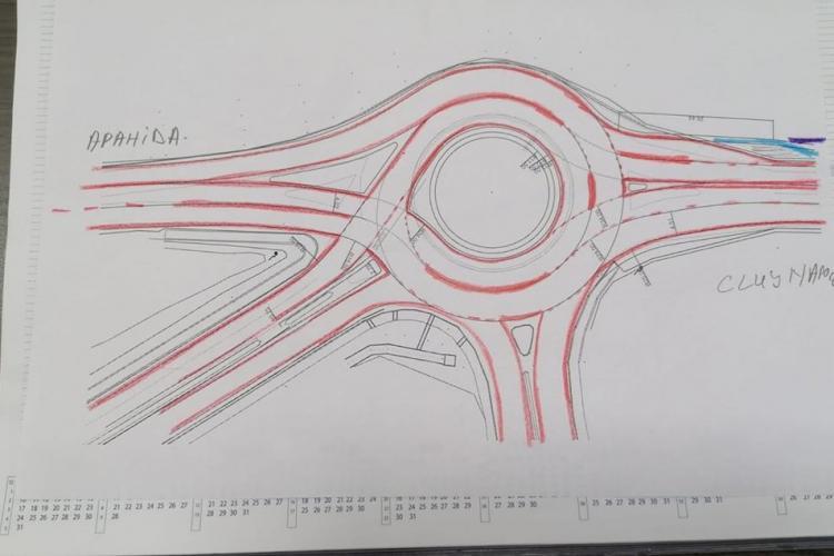 Sensul giratoriu din Apahida se va modifica - FOTO
