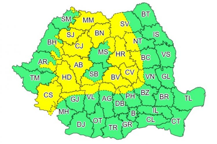 Un nou avertisment de vreme rea în zona de munte. Clujul este afectat