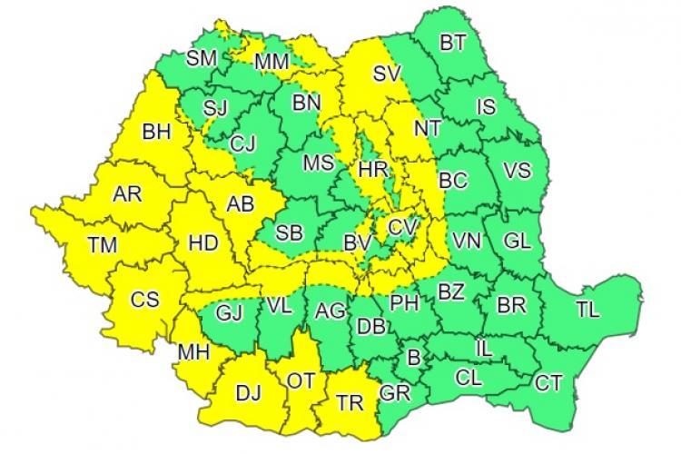 COD GALBEN de vreme rea pentru mai multe județe din țară. Clujul e afectat