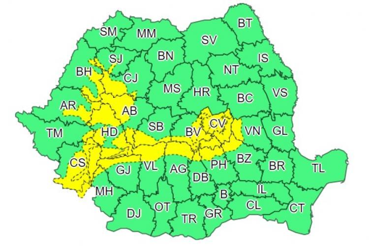 Cod galben de ninsori și viscol în zona de munte. Clujul este afectat