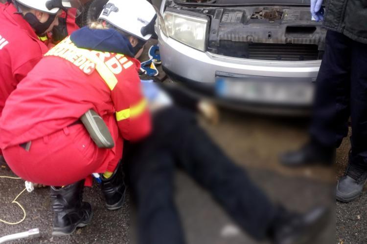 Clujean strivit de mașină în Mănăștur! A fost salvat de un trecător și un taximetrist FOTO