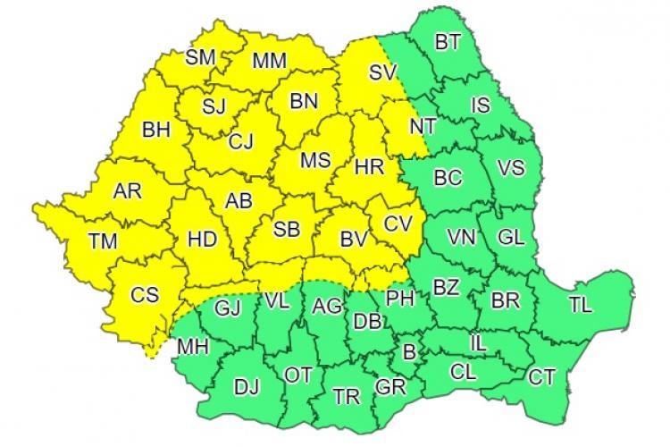 COD GALBEN de vijelii și furtuni în mai bine de jumătate de țară. Clujul este afectat