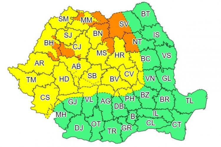 COD PORTOCALIU de vreme rea în Cluj și alte șase județe! Ce anunță meteorologi