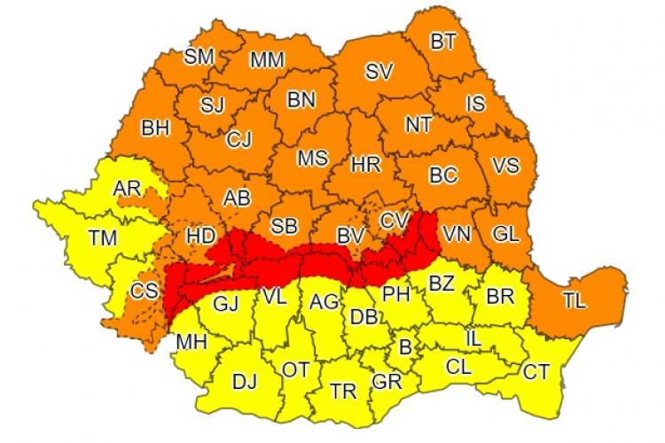 Aproape jumătate de țară sub avertisment de tip COD PORTOCALIU de vijelii. Clujul este afectat