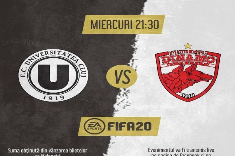 Meciul virtual dintre U Cluj și Dinamo a adunat donații de 22.900 de lei