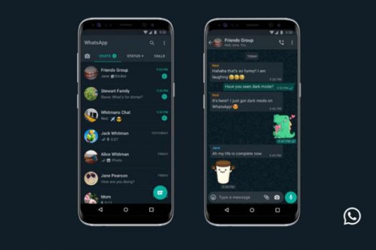 Schimbare majoră la WhatsApp. A fost introdusă funcția Dark Mode