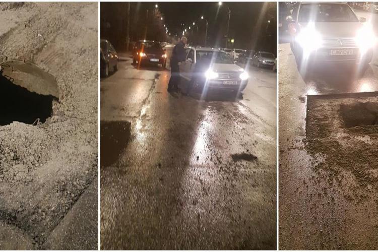 Mașini distruse pe Dorobanților de un canal descoperit - FOTO