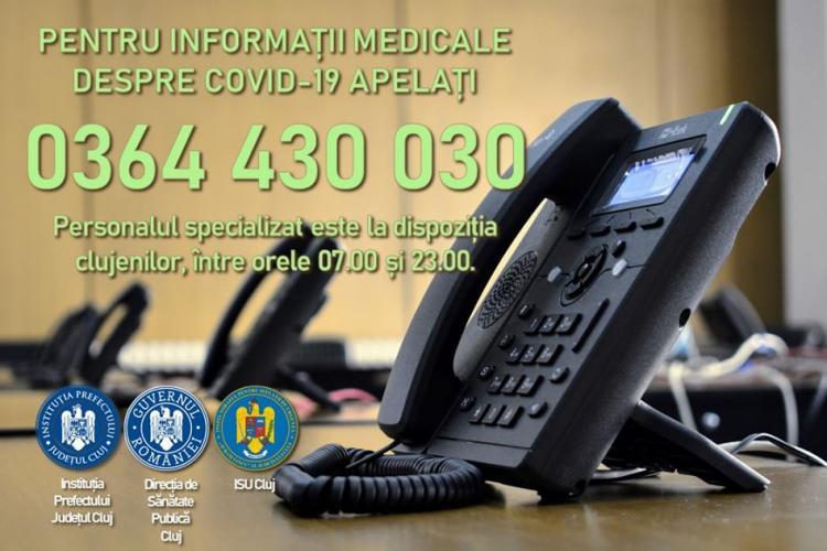 Clujenii pot suna la o linie dedicată pentru a primi informații despre coronavirus