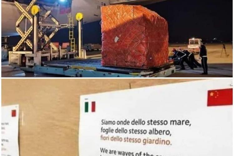 Mesajul scris de chinezi pe transportul cu ajutoare trimis în Italia - FOTO