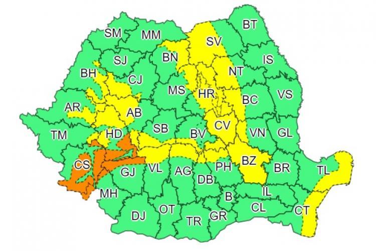 Noi avertismente de vreme rea în mai multe județe din țară. Clujul este afectat