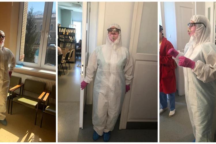 """Medici de la Ginecologie 1, îmbrăcați în """"costum de zugrav"""", în încercarea de a se proteja de coronavirus - FOTO"""