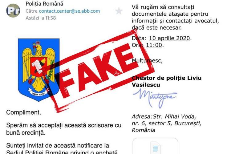 ATENȚIE: Înșelăciune cu e-mail-uri false din partea Poliției. NU le deschideți