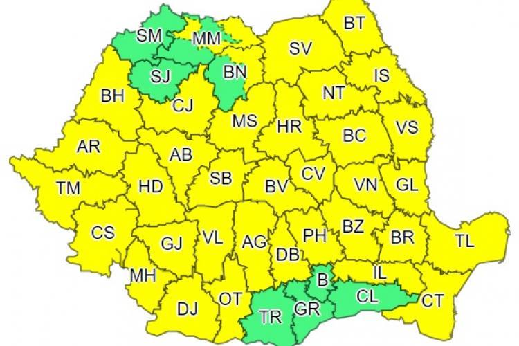 Cod galben de vijelii și vreme rea în toată țara. Se anunță și ninsori