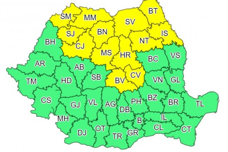 Cod galben de ploi torențiale în Cluj și mai multe județe din țară. Ce anunță meteorologii