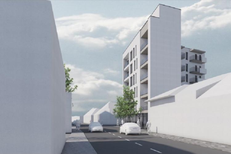 Bloc cu 11 apartamente înghesuit la Cluj pe 550 de metri pătrați. E atât de îngust că nu poate fi mobilat