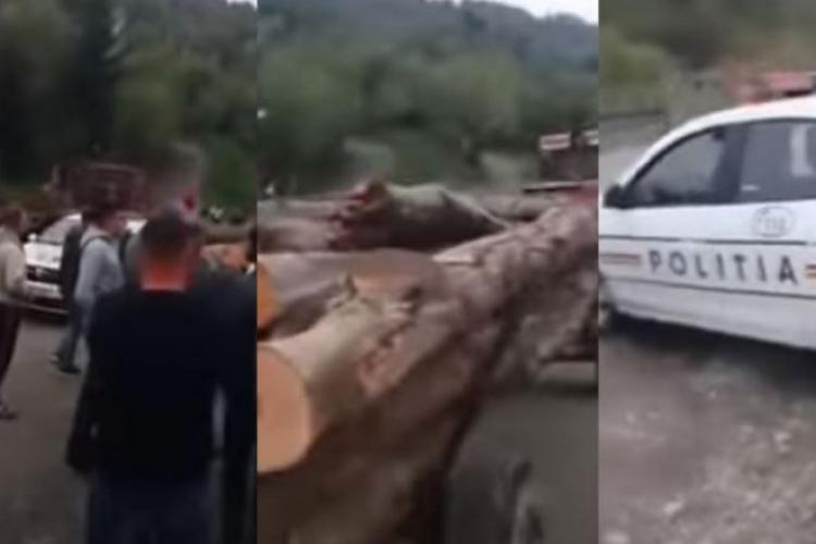 Sătenii din Poienile de Sub Munte, Maramureș, au oprit un transport ilegal de lemne. A ieșit scandal - VIDEO