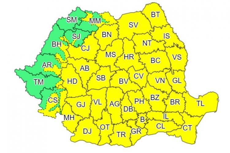 Cod galben de ploi și vreme rea în aproape toată țara! Vezi ce anunță ANM