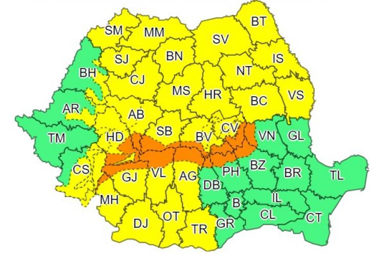 COD GALBEN de vijelii și vreme rea în aproape toată țara. Ce anunță meteorologii