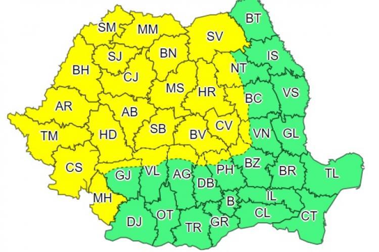 Cod galben de furtuni și vijelii în 27 de județe din țară! Clujul este afectat