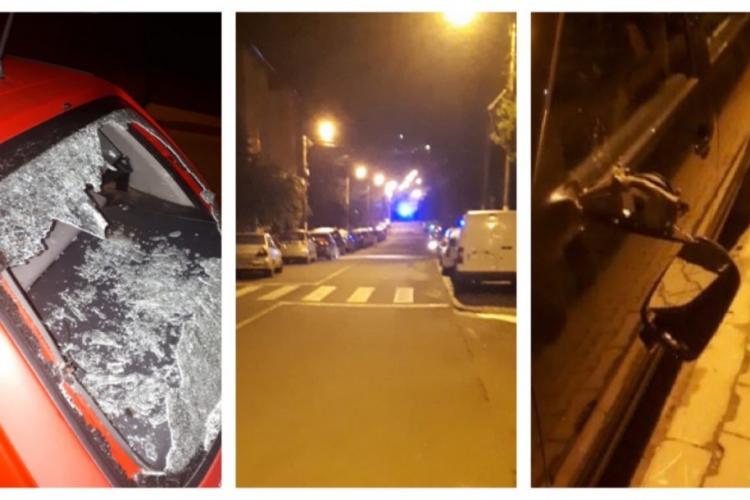 CLUJ: Tânăr prins de polițiști după ce a distrus peste 10 mașini. Le spărgea parbrizele cu un bolovan VIDEO