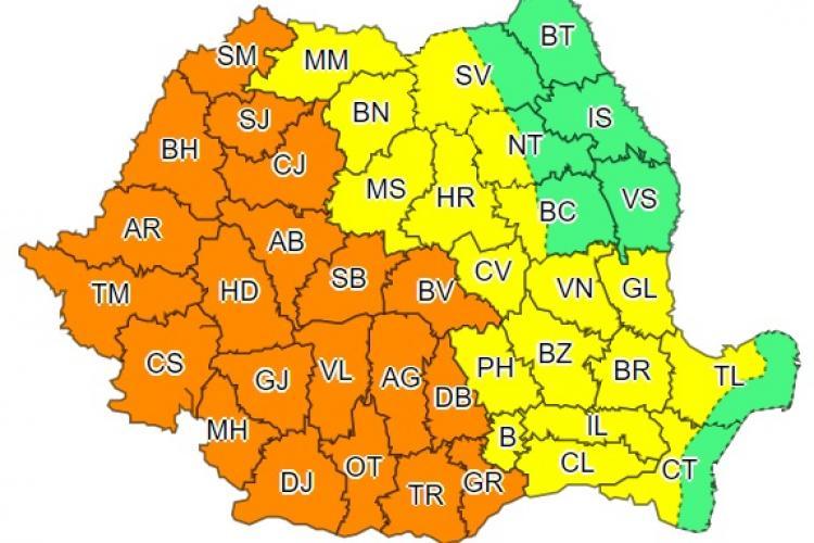 Se anunță din nou furtuni la Cluj! Cod PORTOCALIU de ploi torențiale