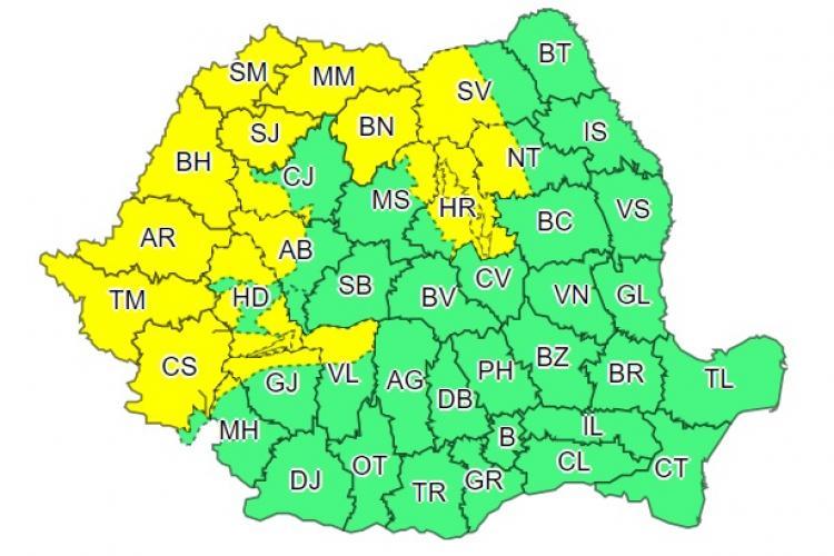 Cod galben de vreme rea în mai multe județe din țară! Clujul e afectat