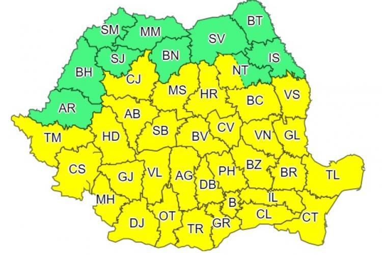 Cod galben de vreme rea în aproape toată țara. Ce anunță meteorologii