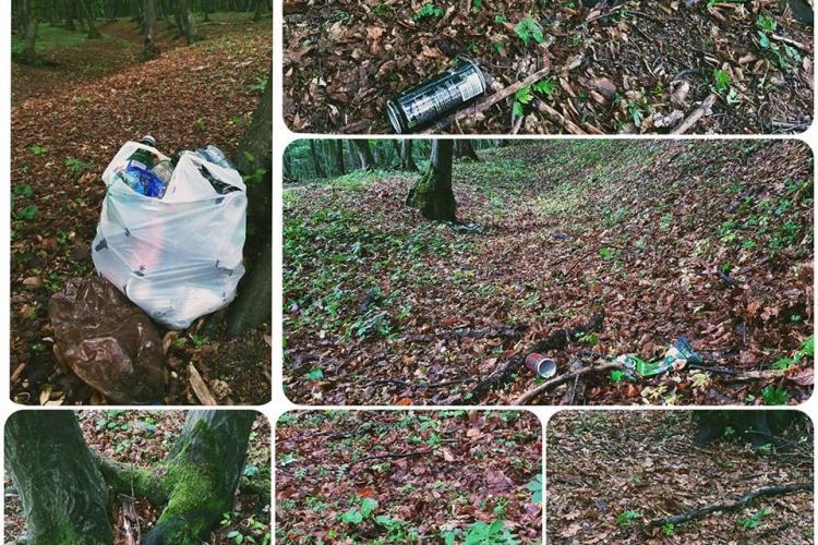 """Pădurea din Florești, plină de sticle, pet -uri și mizerie, lăsate de """"iubitorii"""" naturii - FOTO"""