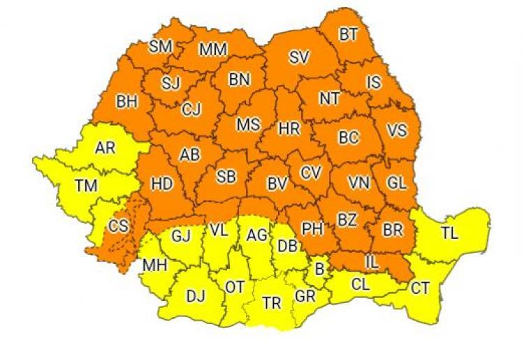 Cod portocaliu de furtuni la Cluj. VEZI intervalul vizat