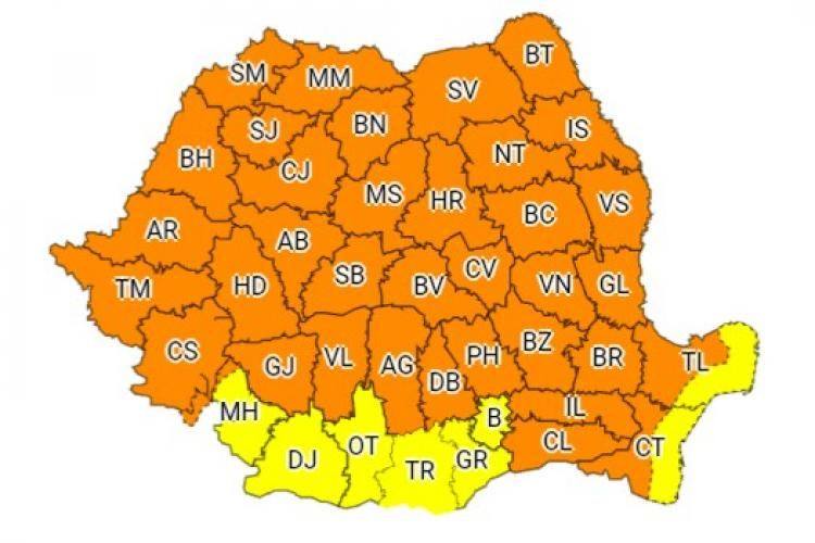 Nou COD PORTOCALIU pentru Cluj: Furtuni, grindină și vijelii