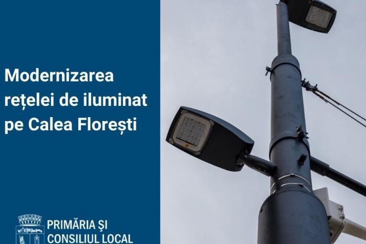 Se montează noi stâlpi de iluminat pe Calea Florești. Cât durează lucrările