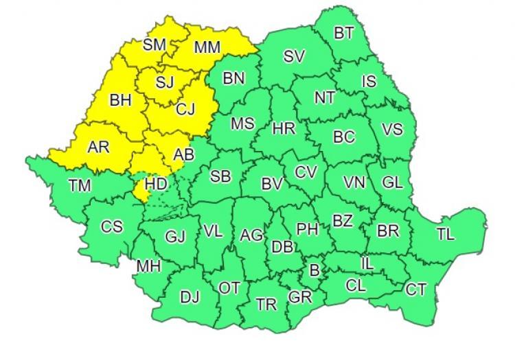 Cod galben de ploi și vijelii în Cluj și mai multe județe din țară