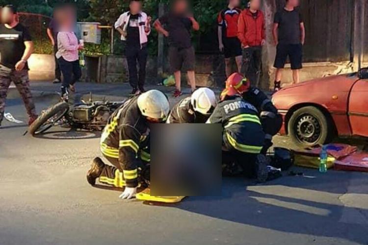 Accident în cartierul Între Lacuri. Un motociclist a ajuns spital FOTO